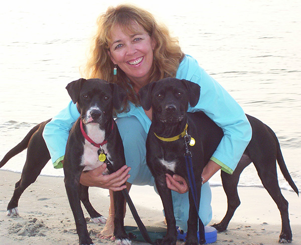 Elizabeth with her dogs, Isis and Tally